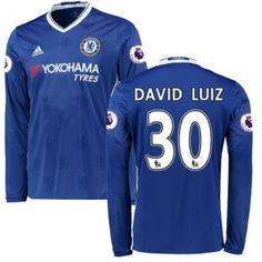 Chelsea 16-17 #David Luiz 30 Hjemmebanetrøje Lange ærmer,245,14KR,shirtshopservice@gmail.com