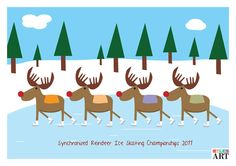 Synchronised Reindeer Ice Skating Championships by MylesArtprints, £5.99