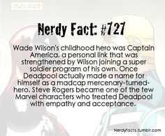 Nerdy Fact #727 OH MY GOSH *Fangirls in corner* YAY MY FAV AVENGER AND DEADPOOL ARE FRIENDS AND RAWR. * Hits self in face* OW I DIDNT MEAN TO DO THAT
