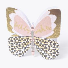 """Beautiful butterfly birthday card for her, with caption: """"Birthday wishes"""""""