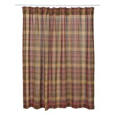 KENDRICK BURLAP Shower Curtain Plaid Khaki/Burgundy/Green Rustic Primitive  72x72