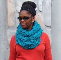 Arm Knit Scarf, Infinity Scarf, Knit Cowl, Hand Knit Scarf, Turquoise, Peacock by glaccessories on Etsy