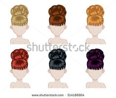 Set of woman hair style sprites. Vector design of beautiful collection of female hairdo