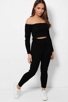 Black Stretchy Rib Knit Two Piece Loungewear – SinglePrice