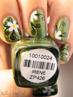 love the flowers and vines! I would just choose a different color in the Barron's other than green.. I wanna get my nails done like this sometime :)