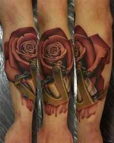 Locked Rose on Sleeve (Realistic Tattoo)
