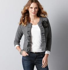 Classic jacket is good both dressed up and down. Pair with a clean and structured dress to create contrast.
