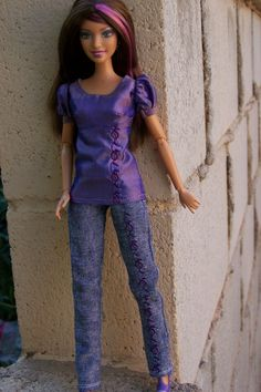 """OOAK """"Lilacs in Bloom"""" jeans fashion for Fashionista Barbie by Woven in Time. $25.00, via Etsy."""