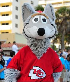 "KC Wolf, Kansas City Chiefs mascot. He was first introduced in 1989 as a successor for Warpaint, a horse ridden by a man in full Indian chief headdress from the mid-1980s. KC Wolf was named after the team's ""Wolfpack,"" a group of rabid fans who used to sit in temporary bleachers at Municipal Stadium."