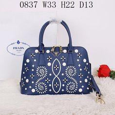 Replica Prada Handbags, Size W33H22D13 CM, Leather , Color Blue Bags, Bags for Women, 1:1 Quality