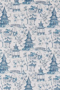 Chinoiserie Inspired textile pattern by Lacefield Designs: Pagodas - Seaside $40 per yard www.lacefielddesigns.com #chinoiserie #blueandwhite #bluechinoiserie