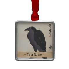 Kawanabe Kyōsai Crow Resting on Wood Trunk art Ornaments #japan #japanese #oriental #gift #customizable #fineart #crow #vintage #shopping