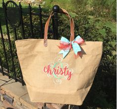 NEW!!  Natural Jute ZipperTote, Reuseable Grocery Bag, Beach Bag, Carryall, Monogrammed Tote and More! by GebbiesEmbroidery on Etsy