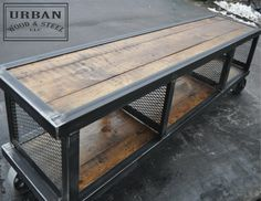 Copley Urban Industrial Coffee Table — Urban Wood & Steel LLC - Reclaimed pine, raw steel, flat expanded metal, and 3 inch locking steel casters make this coffee t - Steel Furniture, Pallet Furniture, Rustic Furniture, Vintage Furniture, Modern Furniture, Furniture Ideas, Furniture Repair, Furniture Nyc, Cheap Furniture