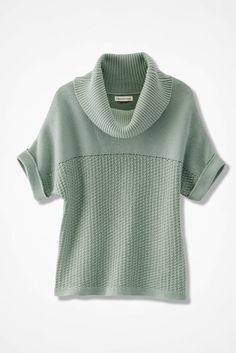 Mixed-Stitch Dolman Sweater, Agave Green