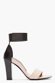Chloe Nude Bicolor Ankle Strap Sandal for women | SSENSE