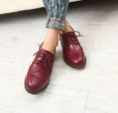 Brogue Oxford-Style Leather Women's Shoes 4 Colors