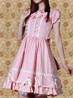 Pink and White Dot Short Sleeves Sweet Lolita Dress