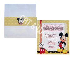 """Προσκλητήριο βάπτισης για αγόρι με θέμα  """"Μίκυ Μάους"""". Αποτελείται απο δύο μέρη. Ματ χαρτί με τον αγαπημένο μας ήρωα  και λευκό φάκελο με κίτρινη πουά χάρτινη κορδελίτσα Mickey Mouse, Comics, Cartoons, Comic, Baby Mouse, Comics And Cartoons, Comic Books, Comic Book, Graphic Novels"""