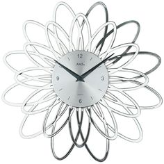 AMS Wanduhr 9362 Quarz silberfarben, florales Design in Kunststoff A35119
