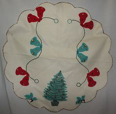 Vintage Christmas Tree Skirt ~ Handmade Felt Skirt w/ Sequins & Beads * Tree, Bells and Holly Design