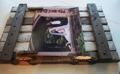 Picture holder large frame Rustic/ wall hanging with copper hinges. $74.00, via Etsy.