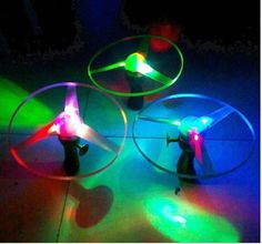 Blue Pink Green LED Light up Flying Disc Toy 3 Pieces – The Toy Shop