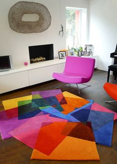 AREA RUG SALE FOR YOUR FLOOR : Chic Unusual Pattern Colorful Area Rug Sale On Wooden Floors Feat Chic Pink Scoop Chairs In White Living Room...