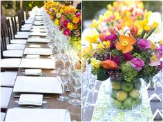 centerpieces with flowers and fruit