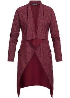 Styleboom Fashion Damen Long Cardigan 2 Taschen Wasserfall Kragen bordeaux melange - 77onlineshop