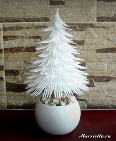 Christmas Tree made from plastic forks.