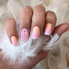 Beautiful nails 2016, Evening dress nails, Evening nails, French manicure ideas 2016, Gradient french manicure, Party nails, ring finger nails, Square nails