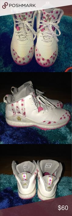 J Wall Pink Floral Adidas (Women) John Wall pink floral adidas shoes Size 7 Women's.                        Worn twice still in good condition adidas Shoes Sneakers