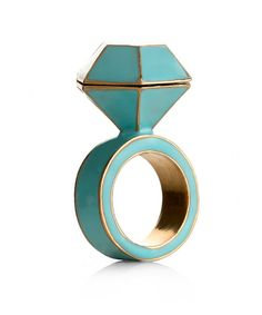 Me & Zena Bobby Dazzler Pill Box Ring Turquoise (it opens, too!)