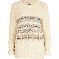 cream print tassel jumper - jumpers - jumpers / cardigans - women - River Island