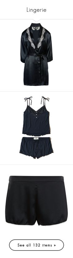 Lingerie by maitelarreak on Polyvore featuring women's fashion, intimates, black, sleepwear, pajamas, pijamas, pyjama, navy, v-neck camisoles and strappy cami