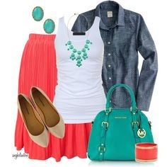 capsule wardrobe mint coral navy chambray - Google Search