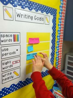 Can make these into a checklist to put in their pencil boxes and the writing area. Writing Goal Board Students use post-its to self-edit each piece of writing for spacing, punctuation, capitalization, and sight word spelling Writing Goals, Work On Writing, Writing Lessons, Writing Resources, Writing Activities, Writing Ideas, Writing Centers, Writing Process, Improve Writing