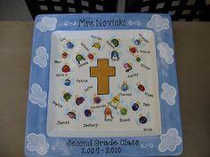 holy communion class auction fingerprint angels platter by Pottery Piazza
