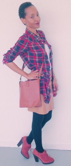 Outfit: Plaid Shirt – The New Yorker White Tank Top – H&M  Faux leather Skirt – The New Yorker  Oxford Pumps – Din Sko  Tote Bag – Asos , Accessories – ASOS & H&M