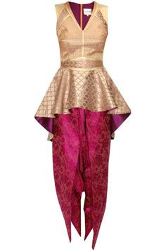 Audrey gold peplum kurta with pink dhoti pants available only at Pernia's Pop Up Shop.