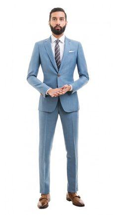 Light Blue Wool Linen Suit http://www.blacklapel.com/suits/light-blue-wool-linen-suit.html