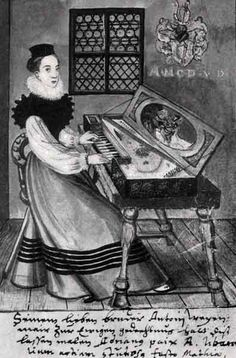 TICMUSart: Dame au clavecin, Livre d'Anton Weihenmayer, maire de Lauingen (1585) (I.M.)