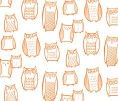 ➸Spoonflower Gift Wrap: #Spoonflowerwrapper  Night Owl (white) fabric by leanne on Spoonflower - custom fabric