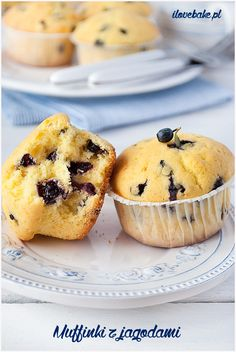 Muffinki z jagodami - I Love Bake Breakfast, Recipes, Food, Morning Coffee, Essen, Meals, Ripped Recipes, Yemek, Eten