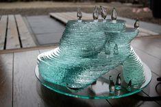 「ガラスのペンギンたち」 Japanese glass decor by Yumiko Goto