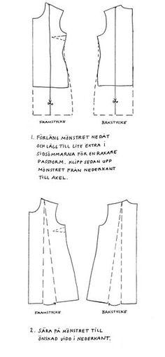 För att få lite mer vidd och fall på sin klänning/tröja kan man sy en A-klänning. Enkelt sätt att göra en förändring i makeityourown basmönster för tröja. Rita av mönstret på ett annat papper eller…