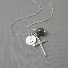 Confirmation Gift, Baptism Gift, Personalized Cross Necklace, Sterling Silver Cross Necklace, Confirmation Necklace, Baptism Necklace