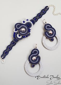 Soutache Blue/Silver bracelet and earrings