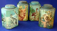 My Nan has this tin and I wish I had one of my own to remind me of her.  Collection of four Bushells tea tins, with Australian fauna… - Tins - Tea/Coffee - Advertising - Carter's Price Guide to Antiques and Collectables